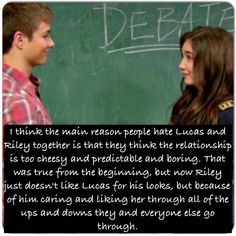 Girl Meets World Confessions. Tbh I thought that Riley and Lucas were cute together but now since Riley has learned about Lucas and vice versa they just seem to be good for each other.