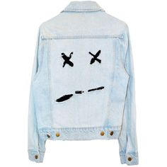 DEAD OR DIZZY DENIM JACKET ($110) ❤ liked on Polyvore featuring outerwear, jackets, denim jacket, blue jean jacket, jean jacket, blue jackets and blue denim jacket