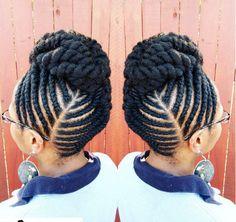 Awesome Flat Twist Updo IG:@artisticrootz  #naturalhairmag Flat Twist Hairstyles, Flat Twist Updo, Braided Hairstyles, Black Hairstyles, Hairstyles 2016, Hairstyles Pictures, Plaited Hairstyle, Flat Twist Styles, Wedding Hairstyles