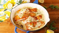 Creamy Lemon Garlic Salmon = A Dinner WinDelish Baked Salmon Recipes, Fish Recipes, Seafood Recipes, Cooking Recipes, Healthy Recipes, Meal Recipes, Fish Dishes, Seafood Dishes, Lemon Garlic Salmon