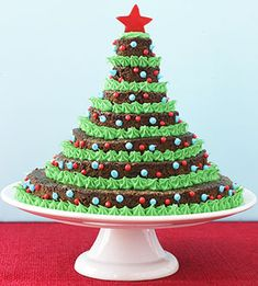 Brownie Tree ~ Stack brownies on a cake stand to make a gorgeous holiday dessert.   Circles in inches: 6, 4 3/4, 3 1/2, 2 3/4, 2,  1 3/4, 1  push bamboo skewer through center to secure