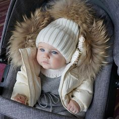 White Cashmere Baby hat with huge 15cm PomPom via MILOVES. Click on the image to see more!