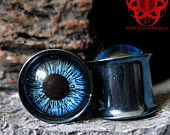 """Blue Eyes Ear Plugs 5/8"""" gauged ears piercing handpainted Glass #EasyNip"""
