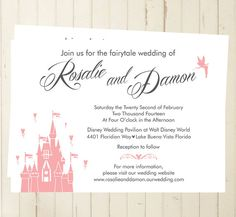 Folded Wedding invites disney castle inspired wedding invite once