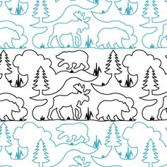 Bear Moose and Pine - Paper - - Quilts Complete - Longarm Continuous Line Quilting Patterns Quilting Stitch Patterns, Machine Quilting Designs, Quilt Patterns, Quilting Ideas, Quilting Stencils, Longarm Quilting, Free Motion Quilting, Moose Quilt, Bird Quilt