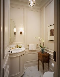 Powder Rooms and bathrooms are perfect rooms for wall panels. Lots of possibilities from plain panels to ornamentation.