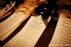 DIY wedding programs--very easy! Download a fancy font if you can't find one you like on Word, put all the info in, format and space, print at Kinko's for CHEAP and then  tie the bows