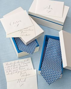 This groom gave each of his groomsmen a tie in a keepsake lacquered box