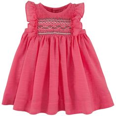 Watermelon pink sundress made of shantung voile. Fine cotton lining. Round neckline and flounces on the shoulders. Embroidered smocks on the chest. Tartine et Chocolat logo buttons in the back. Gathered pleats on the waistband. - $ 128.44