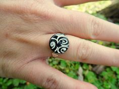 Black & White Adjustable Button Ring  Swirls by LadyResplendence, $11.00