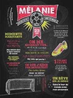 Affiche personnalisée pour adulte Fan de soccer (corail) | 35,00$ #chalkboard #lacraieco #soccer
