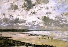 Eugène Boudin, The Beach, Cloudy Sky on ArtStack #eugene-boudin #art