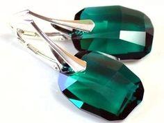 Handmade Earrings Pendant,Swarovski Crystal Emerald Amethyst Red Magma,Sterling Silver,Leverback Earrings,Green,Violet,Mauve