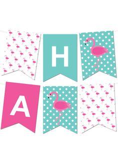 Free Printable Polka Dot Flamingo Pennant Banner Maker from printablepartydecor.com