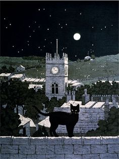 'Cat in the Moonlight' by Buffy Robinson (British contemporary Batik artist)