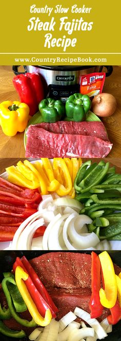 Cooker Steak Fajitas Make delicious steak fajitas in your slow cooker with this awesome recipe. Super easy to make.Make delicious steak fajitas in your slow cooker with this awesome recipe. Super easy to make. Crock Pot Recipes, Slow Cooker Recipes, Beef Recipes, Mexican Food Recipes, Crock Pots, Crockpot Steak Recipes, Recipes With Flank Steak, Crockpot Healthy Recipes Clean Eating, Healthy Pressure Cooker Recipes