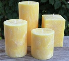 Made from natural palm wax - scented in Energy and available in several different sizes. Scented Wax, Handmade Candles, Candle Making, Pillar Candles, Palm, Candle Holders, Nice, Natural, Candles