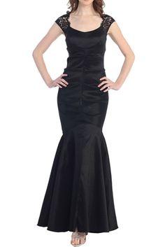 BLACK LACE SLEEVE PROM DRESS S-3XL $89.95 www.destinationmodesty.com