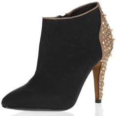 Black stud back ankle boots