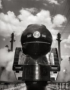 The front end of a streamlined locomotive ( a J class) sitting in Shaffer's…