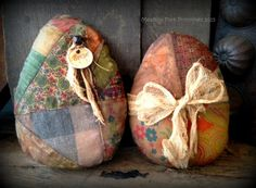Set of 2 Bright and Colorful Primitive Easter Eggs, folk art, shabby, farmhouse, old, quilt, patchwork, spring, hafair team by MeadowForkPrims on Etsy