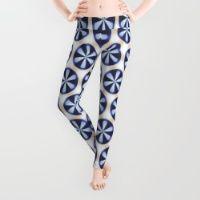 Pinwheel Flowers Blue on White Leggings