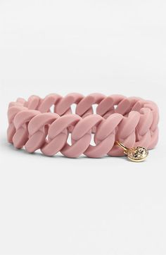 MARC BY MARC JACOBS 'Rubber Turnlock' Stretch Bracelet Colonial Rose/ Gold One Size