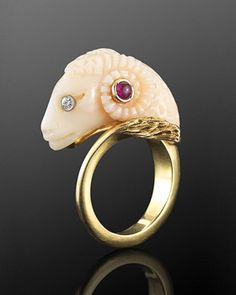 A 1970s coral brooch by Cellino in the form of a ram's head; the ram is the symbol of the zodiacal sign of Aries. (Fred Leighton)