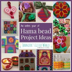 A year of Hama bead craft project ideas, lots of different patterns and designs to suit all seasons of the year Diy Projects For Adults, Craft Kits For Kids, Easy Crafts For Kids, Toddler Crafts, Simple Crafts, Mini Hama Beads, Perler Beads, Craft Tutorials, Craft Projects