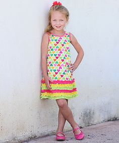 Another great find on #zulily! Fuchsia & Neon Heart Ruffle Dress - Toddler & Girls by Freckles + Kitty #zulilyfinds