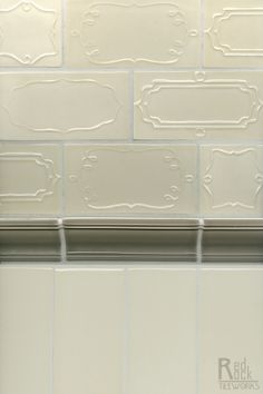 Delicate details on subway tile transform a normal backsplash into a unique work of art- Sucra Collection by Red Rock Tileworks
