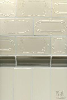 Delicate details on subway tile transform a normal backsplash into a unique work of art- Sucra Collection by Red Rock Tileworks