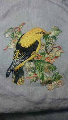 Vintage Needlework - Hand Embroidered Robin On A Branch - Salvabrani Embroidery Patterns Free, Silk Ribbon Embroidery, Embroidery Needles, Crewel Embroidery, Hand Embroidery Designs, Cross Stitch Embroidery, Thread Painting, Textile Art, Needlework