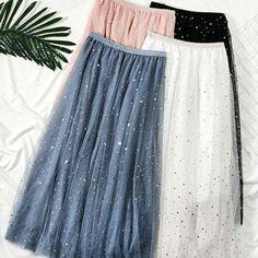 New Women Casual High Waist Pleated Skirt Long Skirt Swing Star Moon Tulle Skirts Mesh Skirt, Pleated Skirt, High Waisted Skirt, Tulle Skirts, Long Skirts, Casual Skirts, Denim Skirt, Black Skirt Outfits, Maxi Skirt Outfits