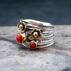 Coral Ring, Coral And Gold, Coral Jewelry, Red Coral, Greek Jewelry, Jewelry Gifts, Unique Jewelry, Everyday Rings, Wide Band Rings