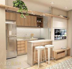 Industrial Style Bathroom Decor Ideas - Lilly is Love Kitchen Room Design, Home Decor Kitchen, Interior Design Kitchen, Home Kitchens, Kitchen Tv, Small Apartment Kitchen, Small Condo Living, Condo Interior, Minimalist Kitchen