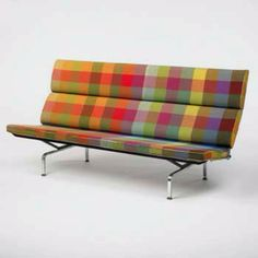 Charles & Ray Eames: Sofa with Alexander Girard fabric, Art Furniture, Design Furniture, Sofa Design, Modern Furniture, Futuristic Furniture, Plywood Furniture, Interior Design, Alexander Girard, Charles Eames