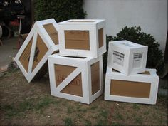 Cardboard Boxes made into Wooden Crates. (Before painting and carving)