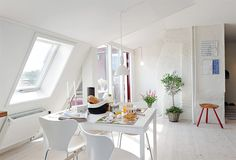Interior Design of Modern Diningroom with white windows  For Apartment