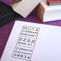 I love this awesome address stamp!  Vertical Rectangle Customized Address Stamp by Purple Lemon Designs