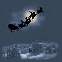 'Twas the Night Before Christmas Christmas Scenes, Merry Little Christmas, Noel Christmas, Father Christmas, Vintage Christmas Cards, Christmas Pictures, Winter Christmas, Gif Noel, Illustration Noel