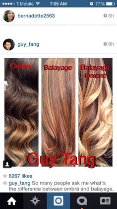 Difference between ombré and balayage