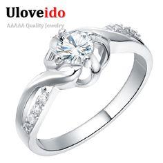 UloveidoOne Pieza Anillos Cristalinos para Las Mujeres Anéis Femininos Bijuterias Alianças de Casamento de Compromiso Regalos de Año Nuevo 2016 J249