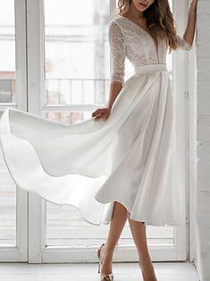 Elegant White Dress, Beautiful White Dresses, White Dresses For Women, White Maxi Dresses, Elegant Dresses, Dresses With Sleeves, Half Sleeves, White Dress With Sleeves, White Dress Winter