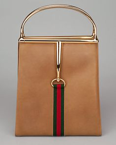 #RealRealScore Gucci Vintage Olive Leather Horsebit Handles Tote.