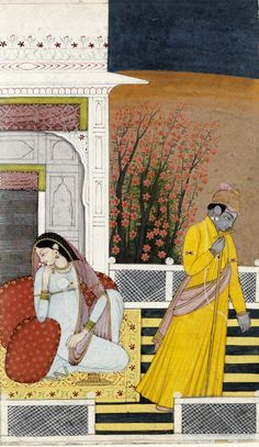 Krishna spurned by Radha, opaque watercolour on paper, Garhwal, ca. 1780-1790