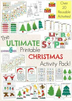 Kerst (Engelse les) The Ultimate Christmas Printable Activity Pack - 100 pages, over 20 reusable activities, colour by number sheets, games, templates and so much more by Learning 4 Kids Christmas Printable Activities, Christmas Activities For Kids, Preschool Christmas, Christmas Games, All Things Christmas, Christmas Holidays, Christmas Crafts, Christmas Worksheets, Christmas Nativity