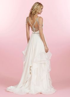 Style HP6450 > Bridal Gowns, Wedding dresses > by Hayley Paige > Shown Ivory Georgette flowy A-line gown with Crossover V-neck bodice accented with Alabaster encrusted draped Beading & Dazzling back detail. Soft flounce skirt with layers of English Net & thin Horsehair edging with Chapel Train (back)