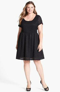 Jessica Simpson 'Pauline' Popcorn Knit Fit & Flare Dress (Plus Size) available at #Nordstrom