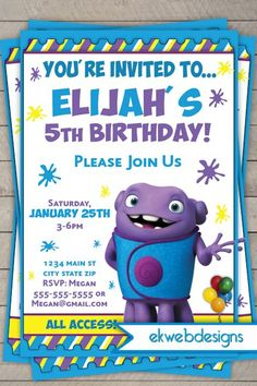 Dreamworks Home Birthday Invitations